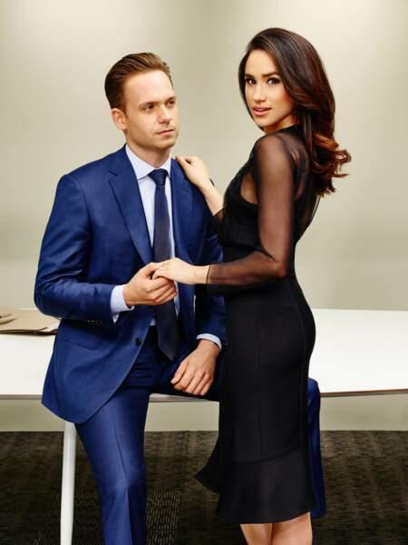 """Meghan Markle, ex star de la série """"Suits"""" (ici avec son partenaire Patrick J. Adams), devenue duchesse de Sussex"""