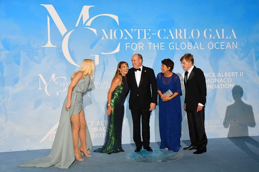 Gwen Stefani, Jane Seymour, le prince Albert II de Monaco, Robert Redford et sa femme Sibylle Szaggars