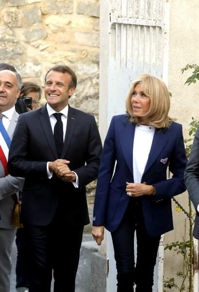 Ambiance détendue pour Emmanuel et Brigitte Macron en Seine-et-Marne, le 20 septembre 2019.