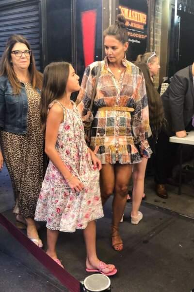 Katie Holmes et sa fille Suri Cruise, en robes assorties le 3 août 2019.
