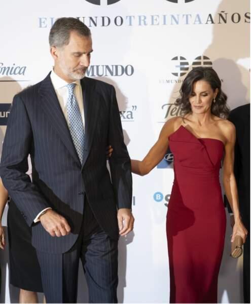 Letizia d'Espagne et Felipe VI à l'hôtel Westin Palace à Madrid le 1er octobre 2019