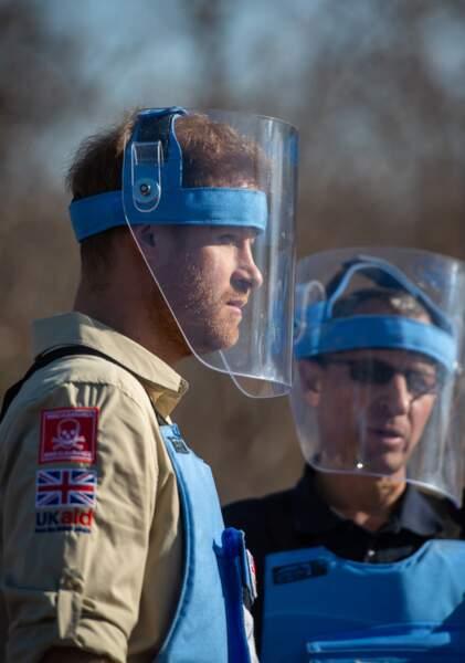 Le prince Harry porte un casque de protection lors d'une visite
