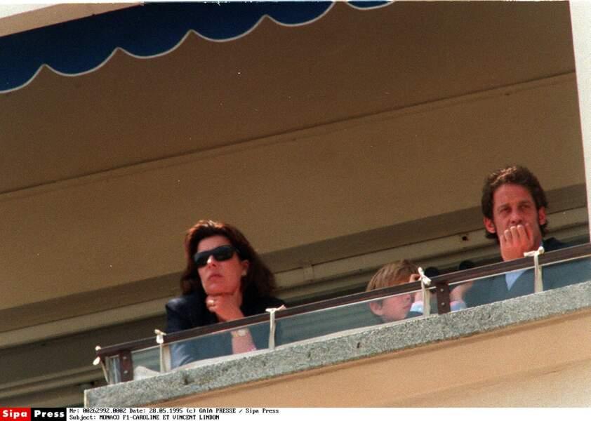 Caroline de Monaco et Vincent Lindon lors du grand prix de Formule 1 de Monaco en 1995