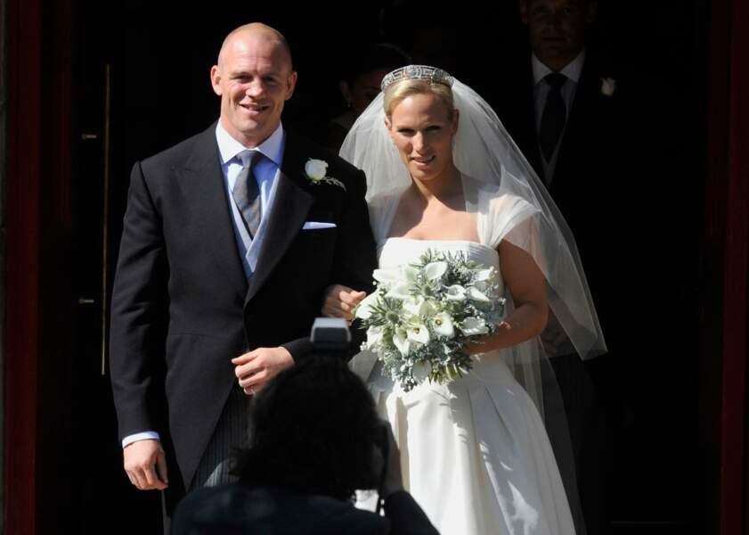 Zara Phillips, petite-fille de la reine Elisabeth II, lors de son mariage avec Mike Tindall, en 2011 à Édimbourg