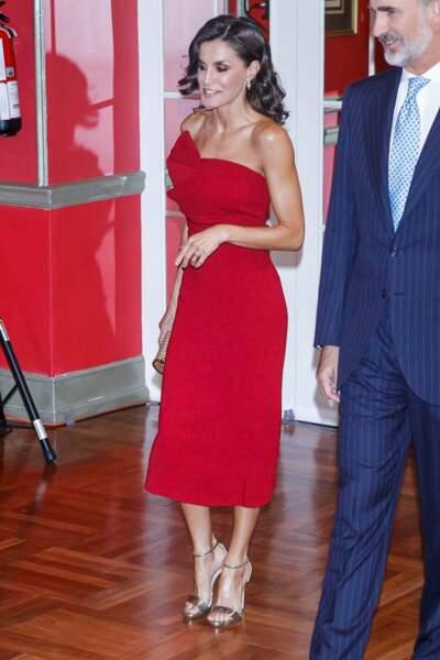 Letizia d'Espagne et Felipe VI tout sourire à Madrid le 1er octobre 2019