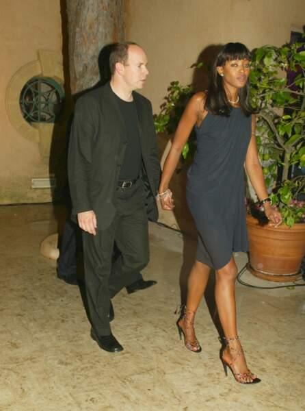 Le prince Albert de Monaco lors de l'anniversaire de Naomi Campbell à Saint Tropez en 2002