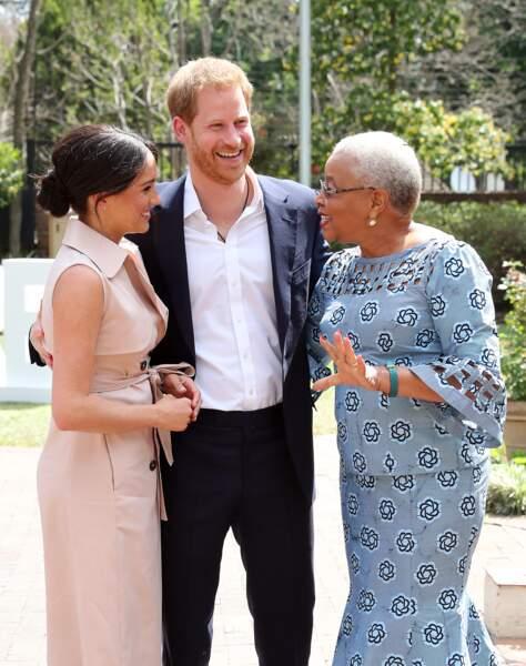 Meghan Markle, le prince Harry reçus par Graça Machel, veuve de N.Mandela, à Johannesburg. Le 2 octobre 2019