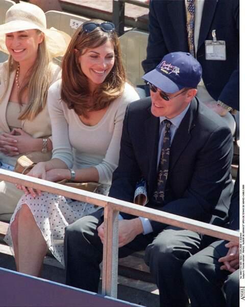 Tasha de Vasconcelos et le prince Albert de Monaco lors de l'Open de tennis de Monte Carlo en 2000