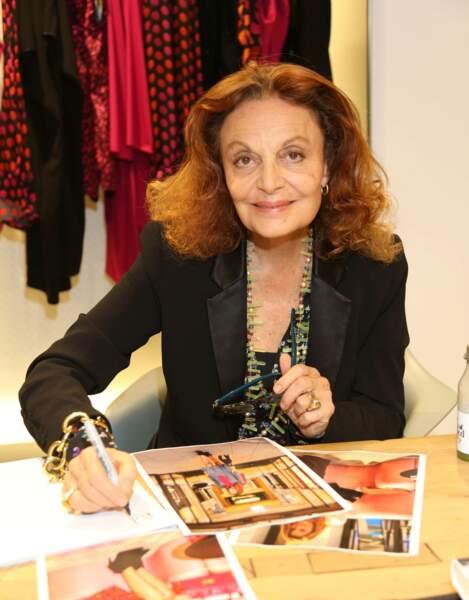 La créatrice de mode Diane von Furstenberg lors de la présentation de son livre à Hambourg en 2015