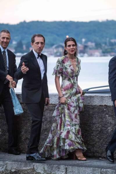 Charlotte Casiraghi et Gad Elmaleh lors du mariage de Pierre Casiraghi et Beatrice Borromeo en 2015