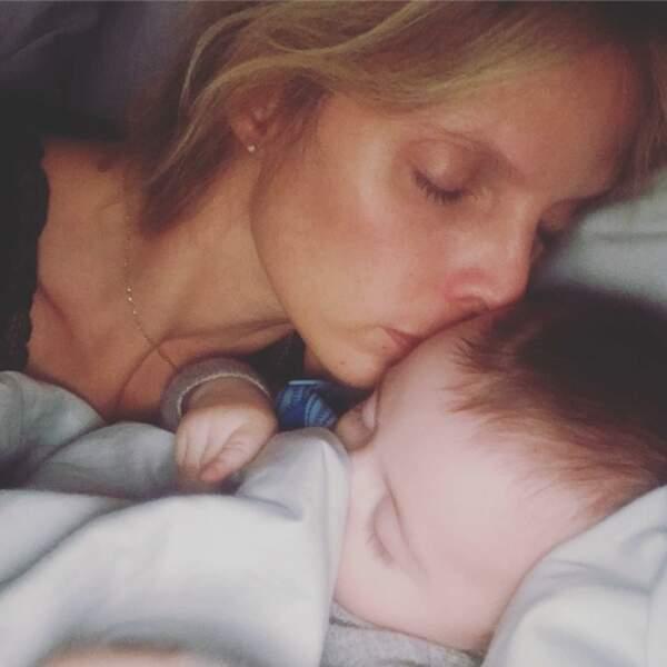 Sylvie Tellier et son fils Roméo, né le 14 juillet 2018