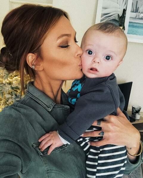 Caroline Receveur et son fils Marlon, né le 6 juillet 2018