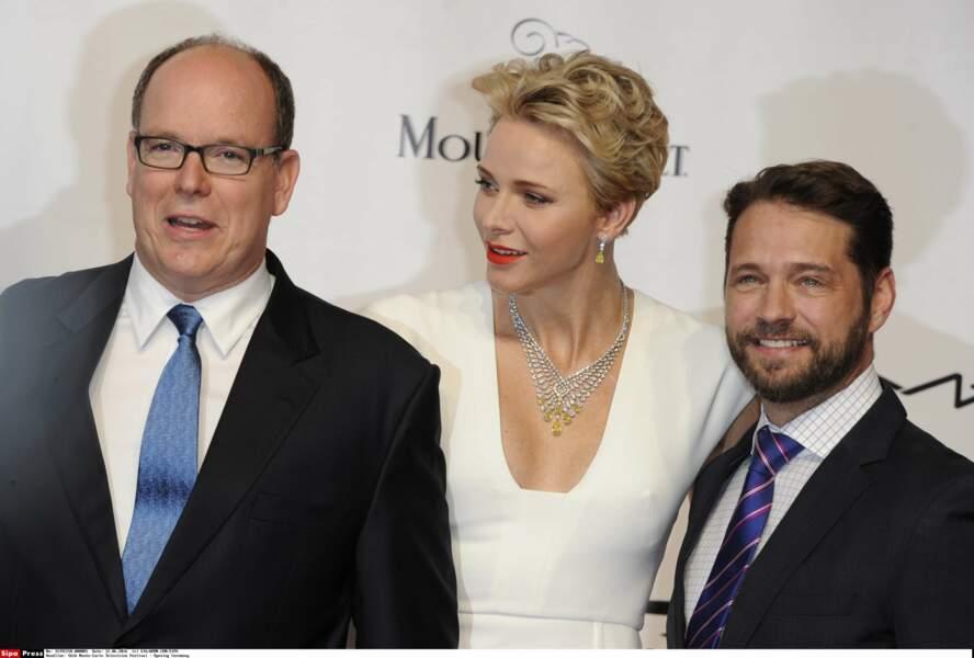 Albert et Charlène de Monaco avec Jason Priestley, président du jury fiction