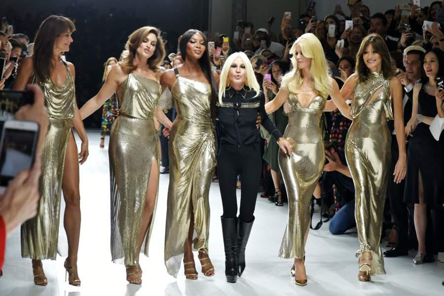 Helena Christensen, Cindy Crawford, Naomi Campbell, Donatella Versaces, Claudia Schiffer and Carla Bruni