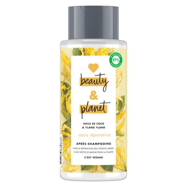 Meghan Markle a besoin de soins doux et green  : Après-Shampooing, Love Beauty & planet, 6,99 €, monoprix.fr