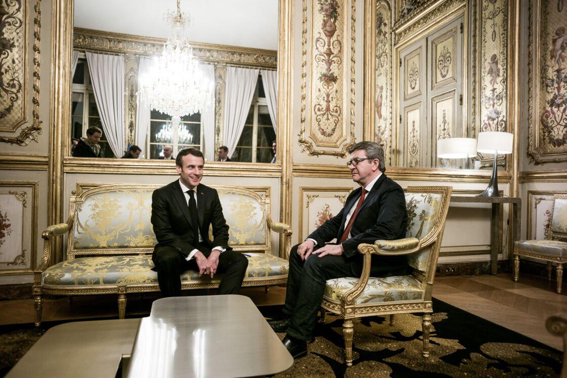 Emmanuel Macron et Jean-Luc Mélenchon au palais de l'Elysée à Paris, le 6 février 2019.