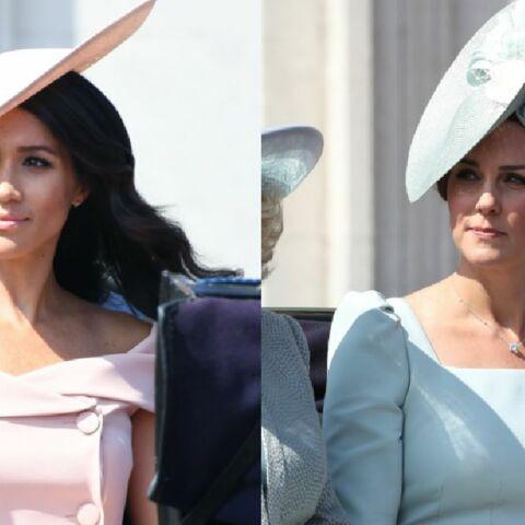 PHOTOS. Trooping the Colour: Meghan Markle surprend avec une robe aux épaules dénudées, Kate Middleton reste classique mais chic