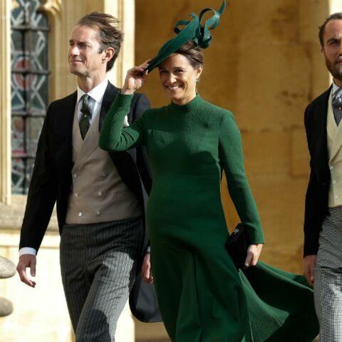 PHOTOS – Pippa Middleton enceinte: elle rayonne en robe verte Emilia Wickstead au mariage d'Eugénie d'York