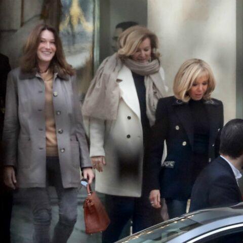 PHOTOS –  Brigitte Macron, Carla Bruni-Sarkozy et Valérie Trierweiler tout sourire, après leur déjeuner à l'Elysée