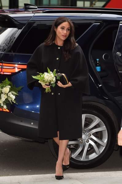 Meghan Markle très élégante en talons hauts et manteau Gucci à la New Zealand House à Londres, le 19 mars 2019
