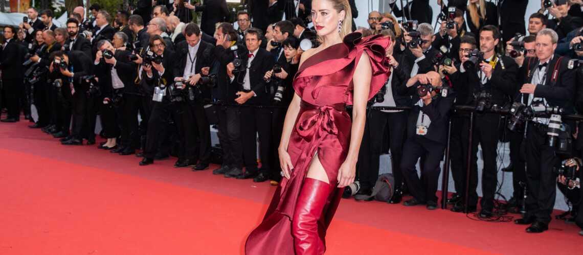 PHOTOS – Cannes 2019: Amber Heard sublime tentatrice en cuissardes rouges sur les marches - Gala