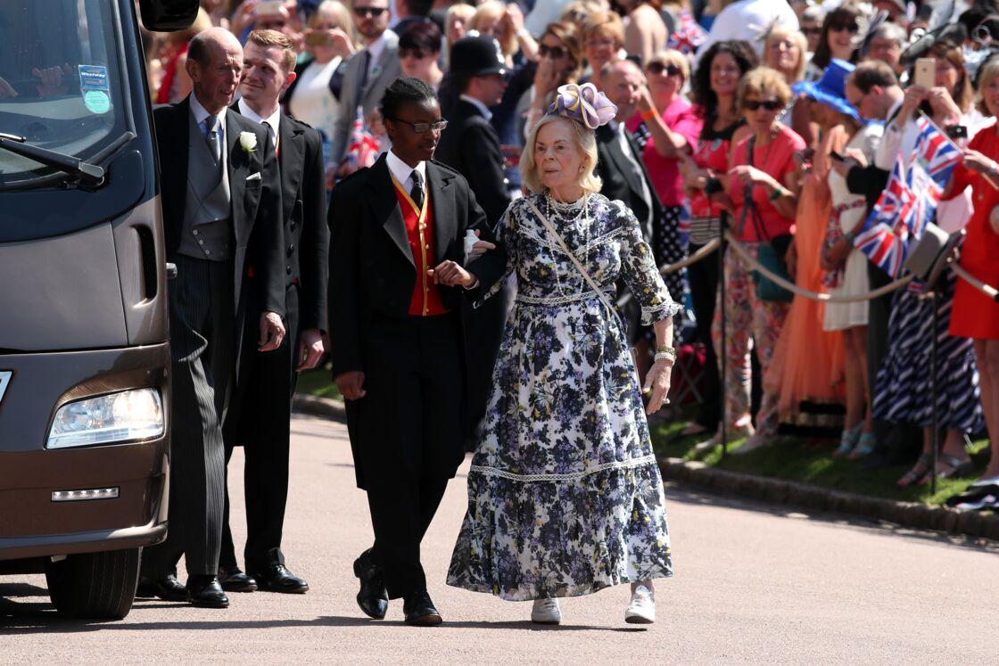La duchesse de Kent, 86 ans, dans la même robe Erdem au mariage de Meghan et Harry, le 19 mai 2018.