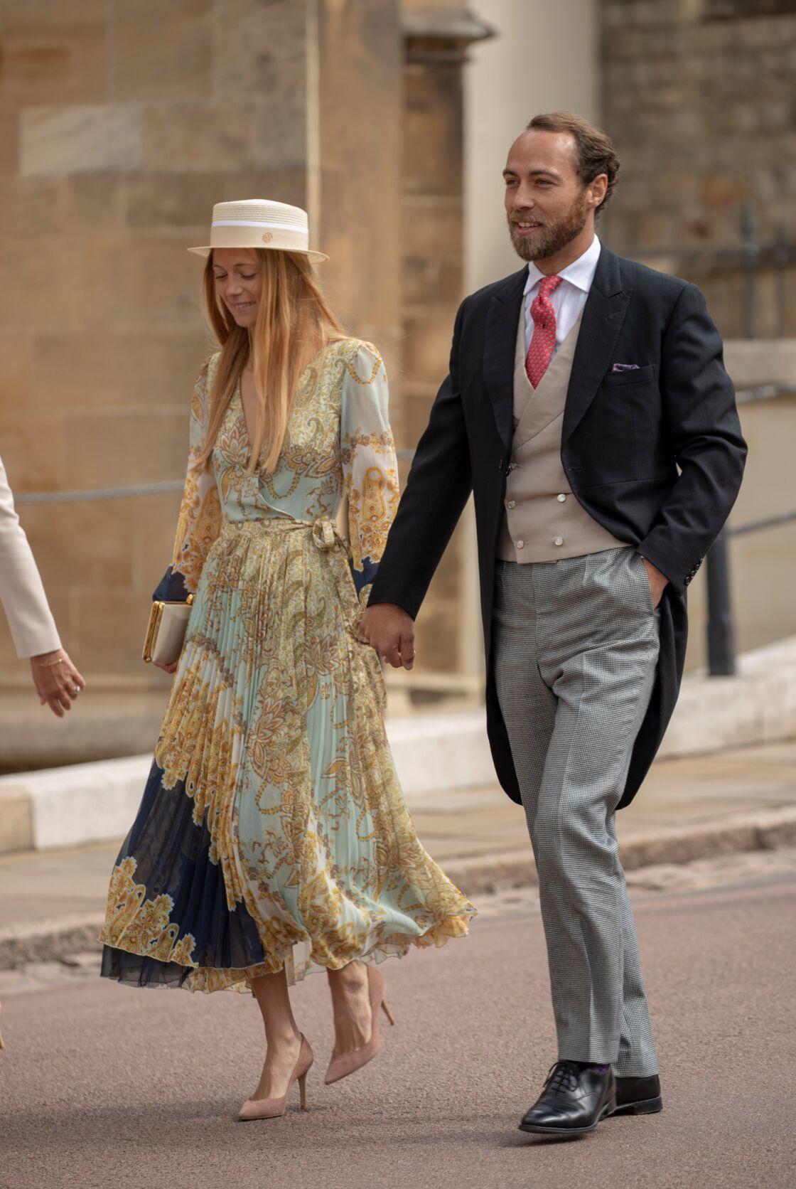 James Middleton et sa dernière compagne Alizée Thévenet, au mariage de Gabriella Windsor, le 18 mai 2019