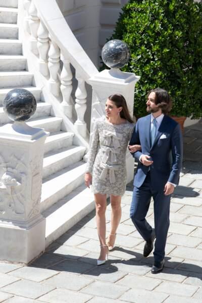 Charlotte Casiraghi épouse Dimitri Rassam, tous les deux en Saint Laurent Paris le 1er juin 2019 à Monaco