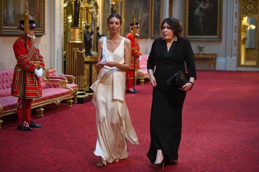 Rose Hanbury et Sarah Vine arrivent au banquet organisé par la reine à Buckingham Palace, le 3 juin 2019.