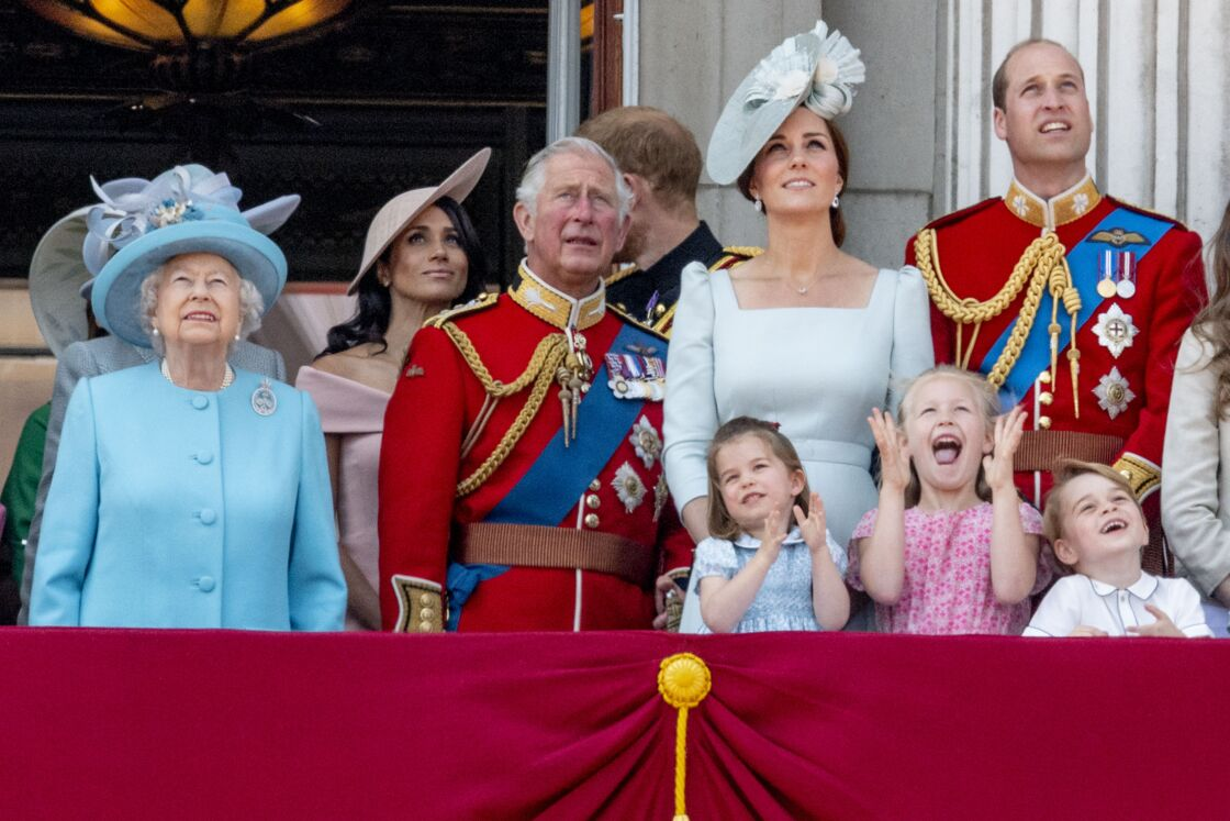 La famille royale au balcon de Buckingham pour la parade Trooping The Colour, le 9 juin 2018.