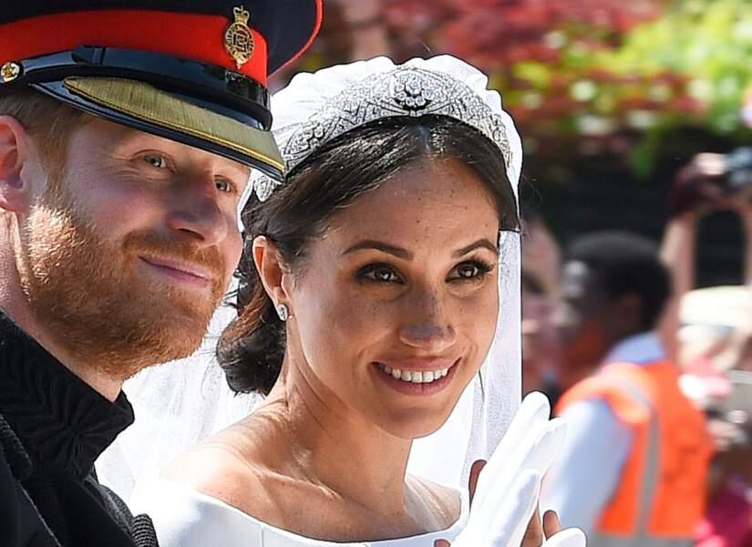 Les sourcils dessinés et teint naturel de Meghan Markle qui assume ses taches de rousseurs le 19 mai 2018