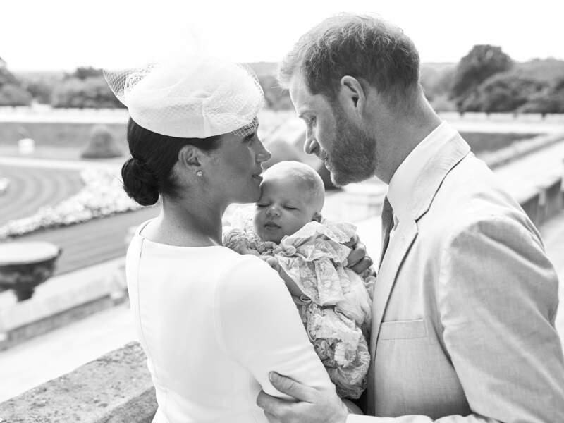 Meghan Markle, le prince Harry et Archie Harrison le jour du baptême de ce dernier, le 6 juillet 2019
