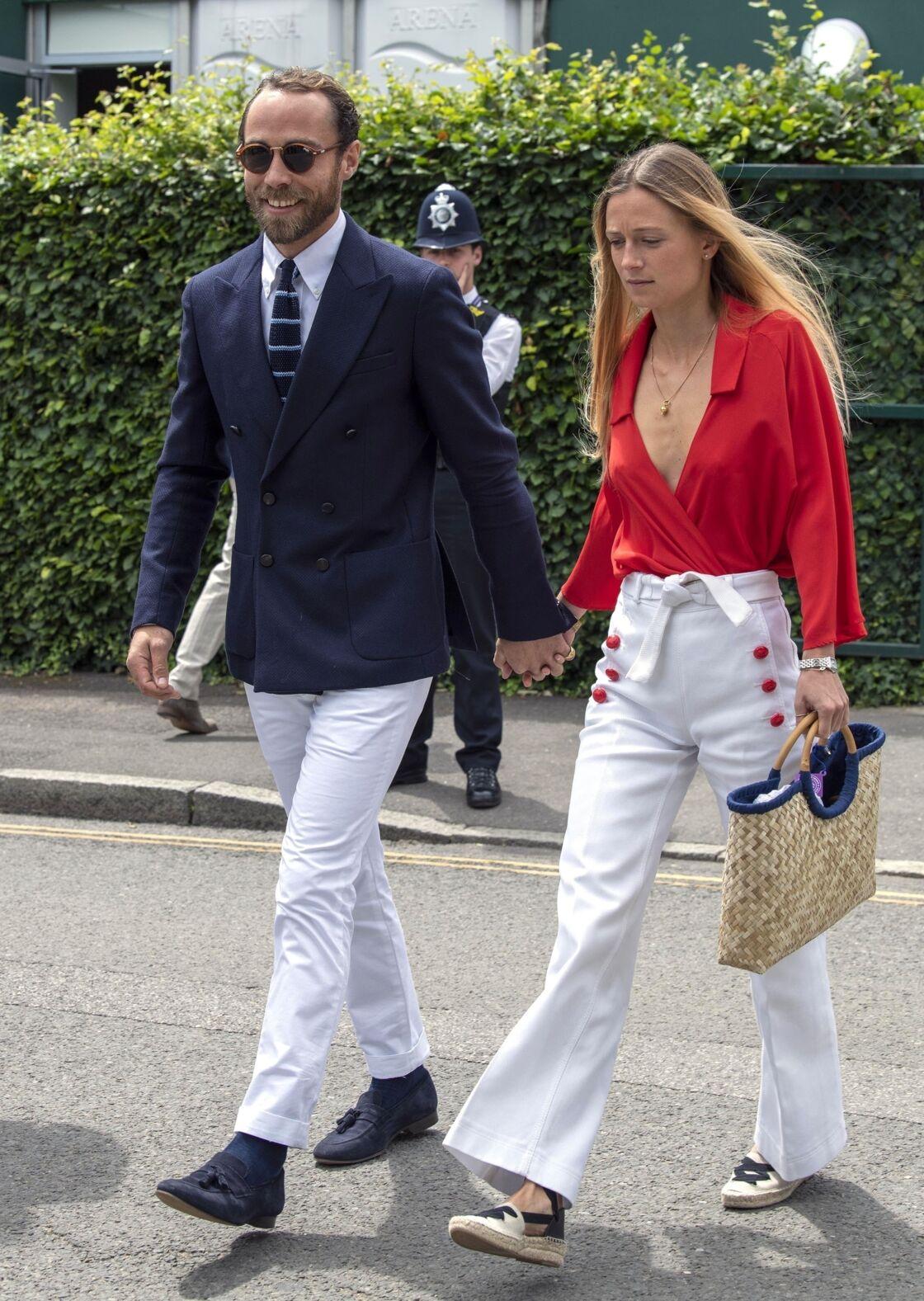 James Middleton et Alizée Thevenet à leur arrivée à Wimbledon, le 14 juillet.