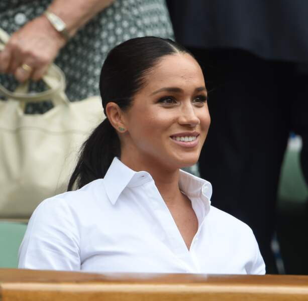 Meghan Markle à Wimbledon le 13 juillet 2019 :  la jeune maman opte cette fois pour une queue-de-cheval tendance