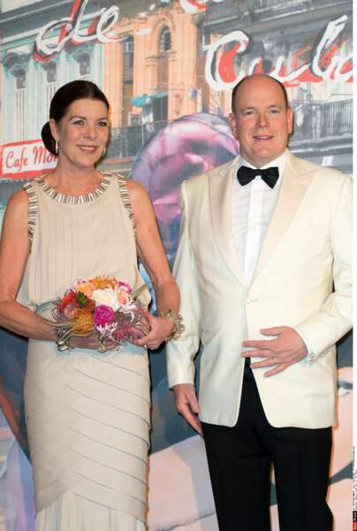 Caroline de Monaco et le prince Albert II de Monaco lors du Bal de la Rose en 2016