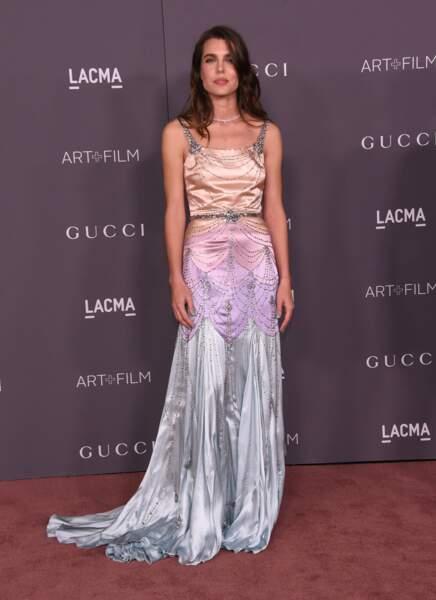 Charlotte Casiraghi ravissante en robe longue Gucci en novembre 2017