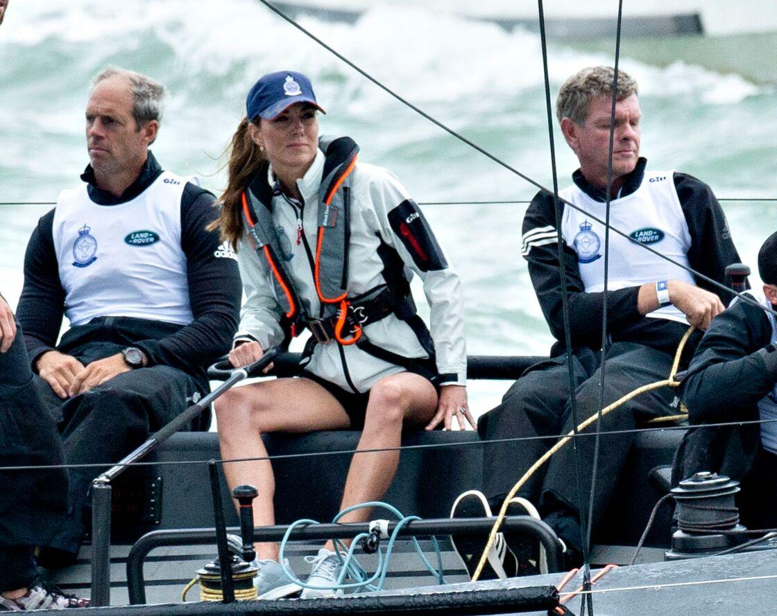 Kate Middleton lors de la régate King's Cup, au large de l'île de Wight, le 8 août 2019.