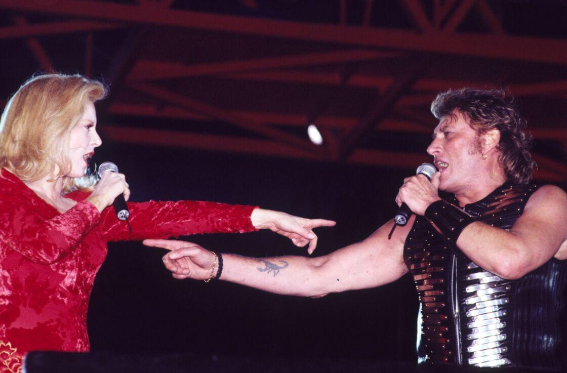 Sylvie Vartan et Johnny Hallyday à Bercy, en 1993.