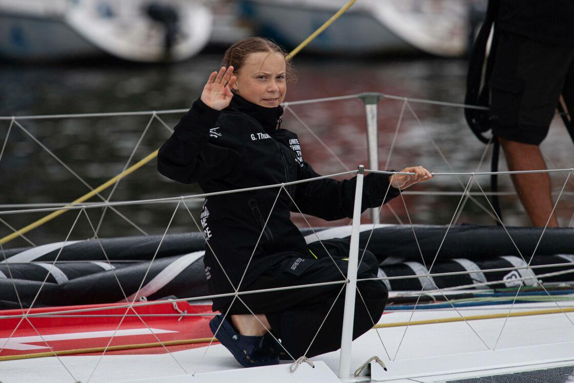 Greta Thunberg à bord du Malizia II, à son arrivée à New York, le 28 août 2019.