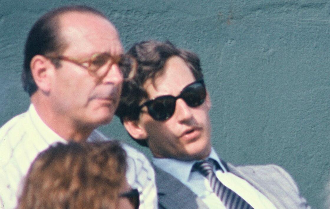 Jacques Chirac et Nicolas Sarkozy au tournoi de Roland-Garros, à Paris, 28 mai 1985.
