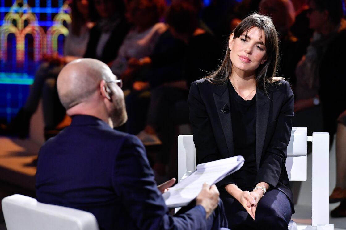 Charlotte Casiraghi sur le plateau de Le parole della settimana le 5 octobre