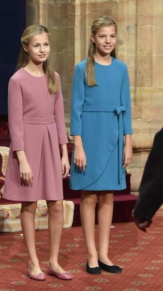 Les princesses Leonor et Sofia, le 18 octobre 2019.