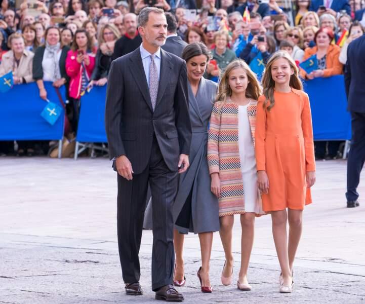 La famille royale d'Espagne arrive à Oviedo, le 17 octobre