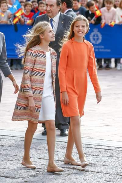 """Les princesses Leonor et Sofia, à la 39ème édition de la cérémonie des """"Princess of Asturias Awards"""", le 17 octobre 2019."""