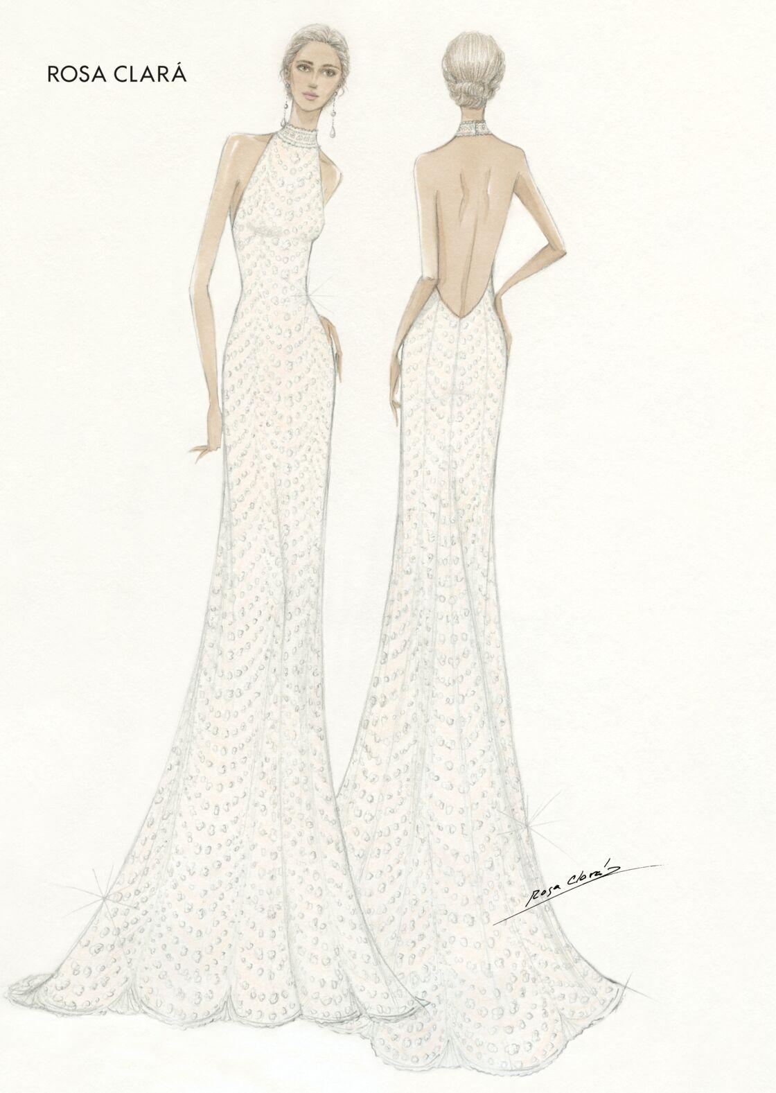 Le croquis de la seconde robe de mariée de Xisca.