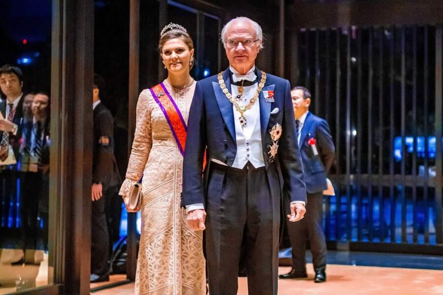Le roi Carl XVI Gustav de Suède et la princesse Victoria de Suède, lors du banquet.