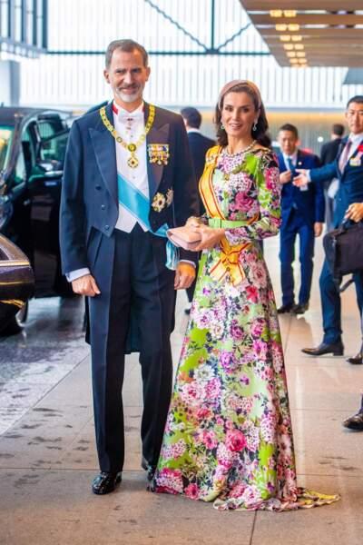 La reine Letizia d'Espagne et le roi Felipe VI se sont rendus au Japon pour assister à la cérémonie d'intronisation de l'empereur Naruhito au palais impérial de Tokyo, le 22 octobre 2019.