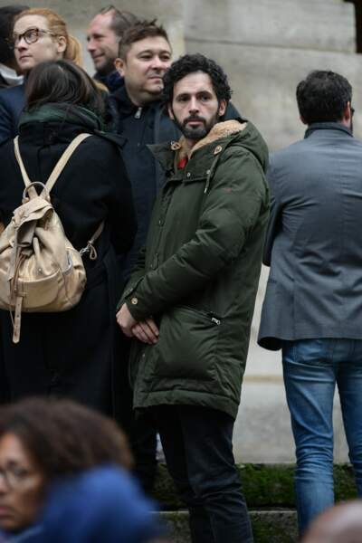 L'acteur Raphaël Ferret aux obsèques de Jean-Michel Martial à l'Eglise Saint-Roch à Paris