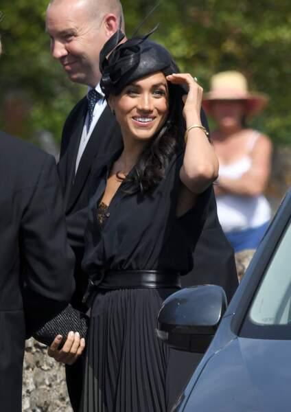 Meghan Markle lors du mariage de Charlie Van Straubenzee, le 4 août 2018 à Frensham.