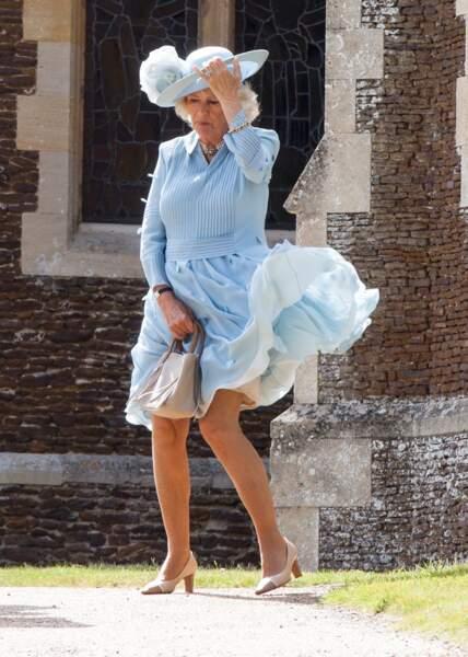 Camilla Parker Bowles lors du baptême de la princesse Charlotte, le 5 juillet 2015